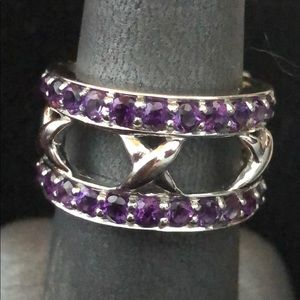 Sterling Silver, Amethyst double banded Ring - NWT